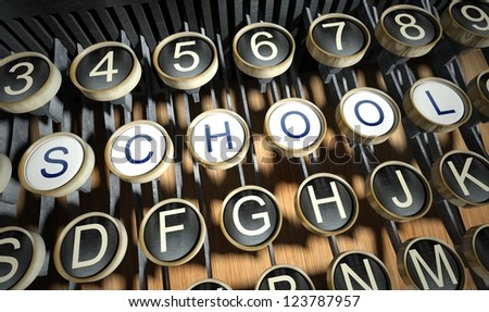 Typewriter with School buttons, vintage style - stock photo