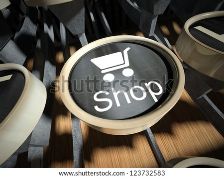 Typewriter with Shop button, vintage style - stock photo