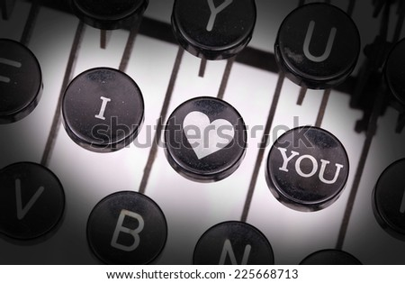 Typewriter with special buttons, I - love- you - stock photo