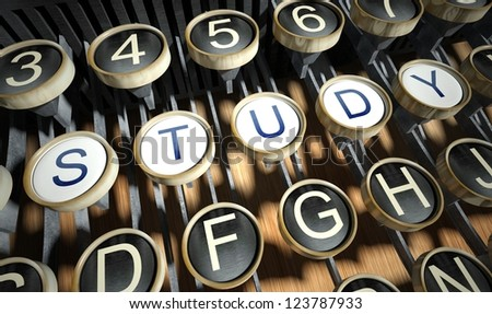 Typewriter with Study buttons, vintage style - stock photo