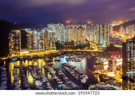 Typhoon shelter in Hong Kong during sunset - stock photo