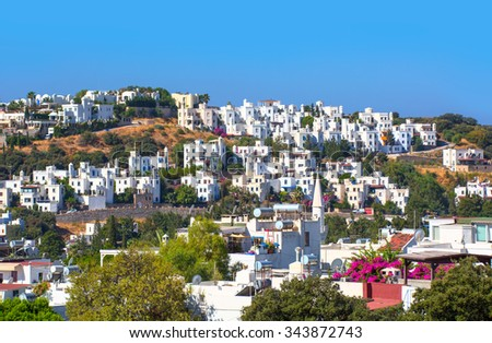 Typical Aegean architecture in Bodrum, Turkey.  - stock photo