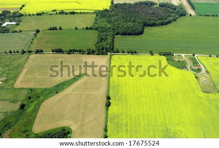Typical aerial view of green fields and farms. Durham region, Ontario, Canada. Summer time. - stock photo