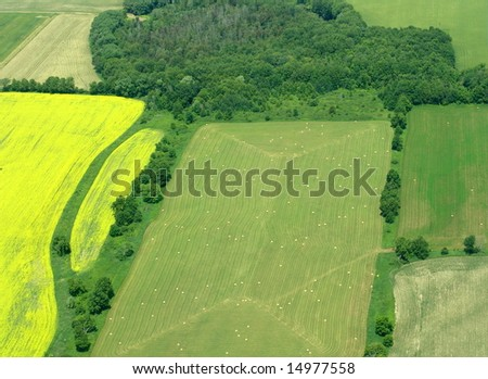 Typical aerial view of green fields and farms, Ontario, Canada - stock photo