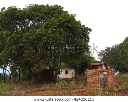 typical African village in Malawi  - stock photo