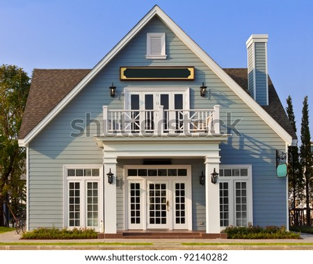 Typical American Home with Name Plate - stock photo