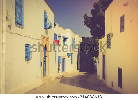 Typical arabic streets and buildings. Sidi Bou Said. Tunisia. Filtered image:cross processed vintage effect. - stock photo