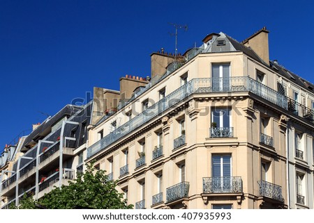 Typical architecture exterior of an apartment building in Paris, France - stock photo