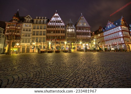 Typical architecture in Frankfurt Main old town, Hessen, Germany  - stock photo