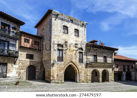 Typical architecture in Santillana del Mar, a famous historic town in Cantabria, Spain. - stock photo