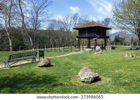 Typical Asturian granary in Cangas de Onis, Spain - stock photo