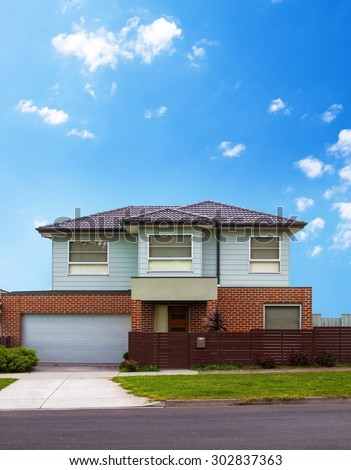 Typical australian house closeup in summer - stock photo