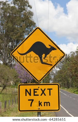 typical australian outback roadsign kangaroo warning - stock photo