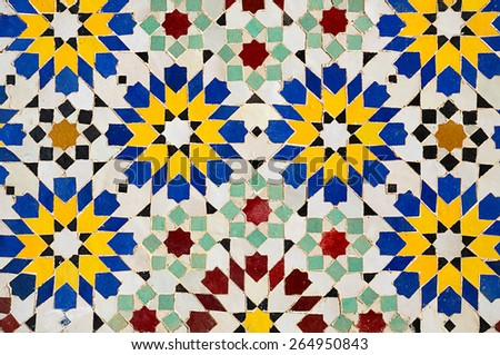 Typical background from moroccan mosaic tiles - stock photo