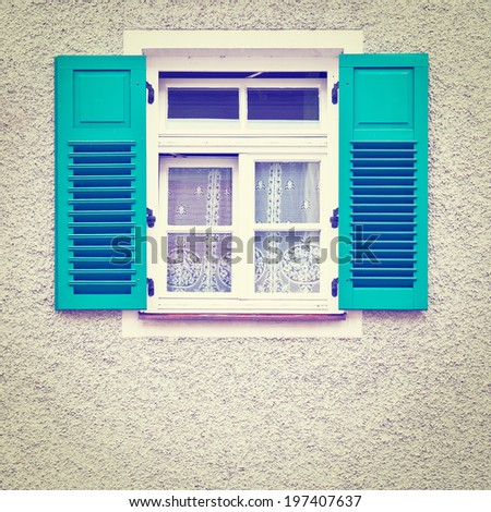 Typical Bavarian Window with Open Wooden Shutters, Retro Effect - stock photo