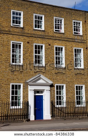 typical beautiful london houses in England - stock photo