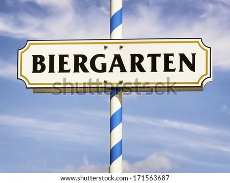 typical beergarden sign in bavaria - germany - stock photo