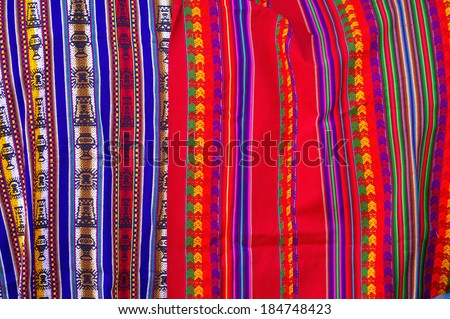 Typical Bolivian/Peruvian fabrics with Inca traditional ornaments - stock photo