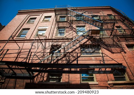 Typical building stairs in New York - stock photo