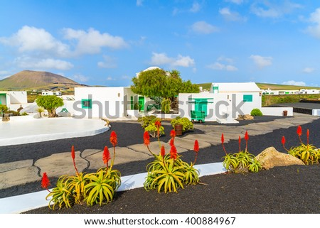 Typical Canarian style buildings and tropical flowers, El Campesino village, Lanzarote island, Spain - stock photo