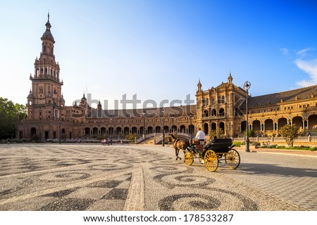 Typical carriage in the Spanish Square (Plaza de Espana), Sevilla, Spain  - stock photo