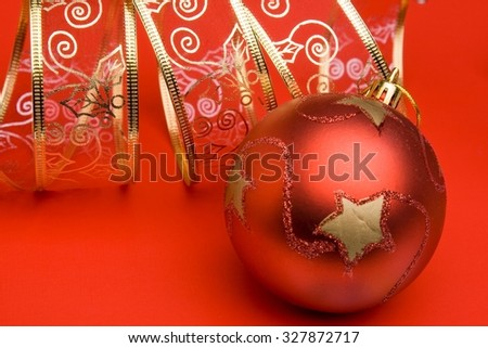 Typical Christmas adornment on the basis of shining spheres and other elements. - stock photo