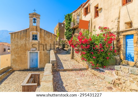 Typical church in small Corsican village of Sant' Antonino, Corsica, France - stock photo