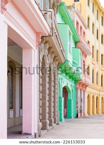 Typical colorful architecture in Old Havana - stock photo