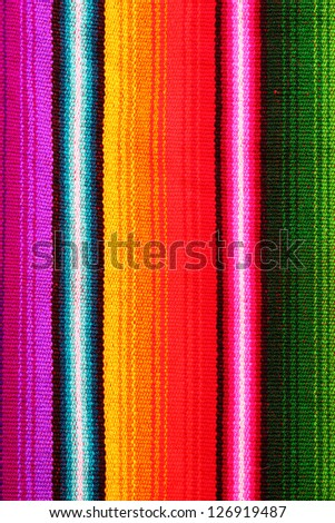 typical colorful woven fabric from central america - stock photo
