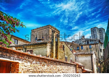 typical corner of San Gimignano in hdr, Italy - stock photo