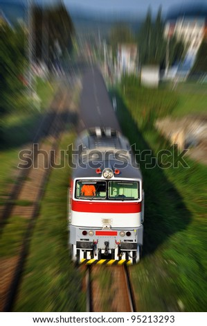 typical czech and slovak train, motion blurred photo - stock photo