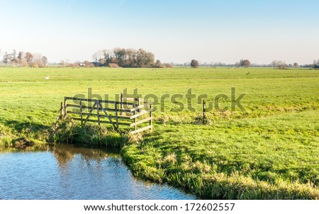 Typical Dutch landscape with a wooden fence and water pond in the foreground and green grassland in the background. - stock photo