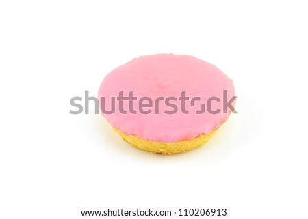 "Typical dutch pastry called ""roze koek""(pink cake). Its a flat cake with fondant glazing, on a white background. - stock photo"