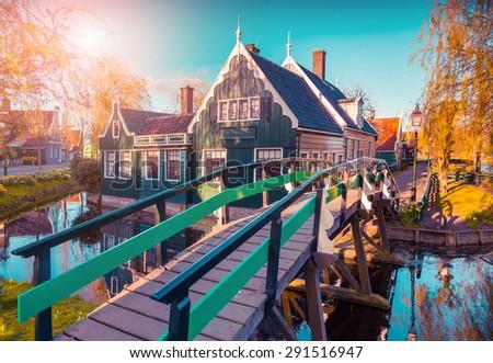 Typical Dutch village Zaanstad in spring sunny day. Netherlands, Europe. Instagram toning - stock photo