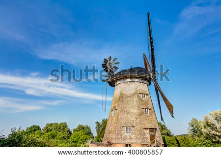 Typical Dutch windmill, Holland - stock photo
