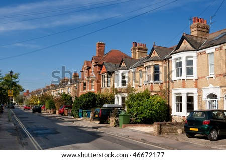 Typical english houses in Oxford. England - stock photo