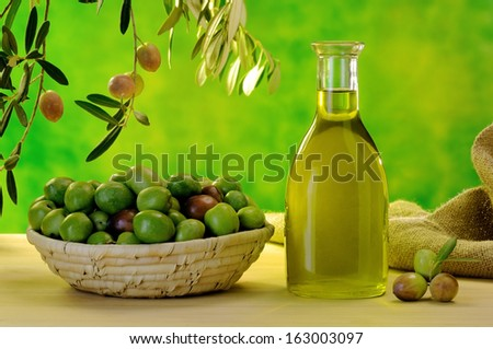 typical extra virgin olive oil of the Sicilian countryside - stock photo