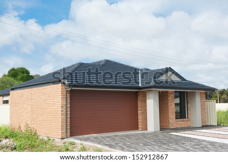 typical  facade of a modern suburban australian house - stock photo