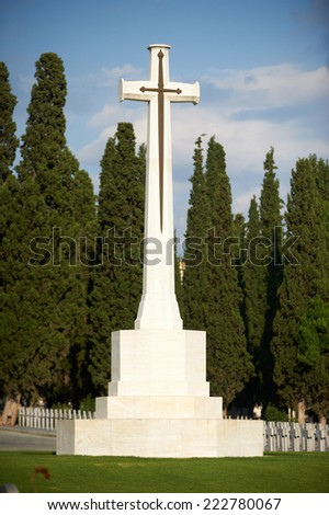 Typical Form of the Cross of Sacrifice, designed by sir Robert Lorimer, WWI British Military Cemeteries - stock photo