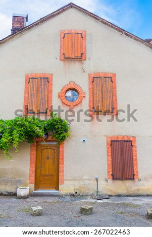 Typical French house in the Boussenac area in the south of France - stock photo