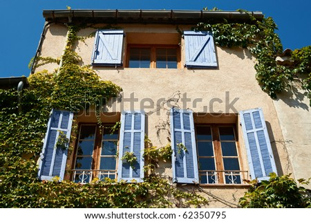 Typical French Provence house in village, near Aix en Provence - stock photo