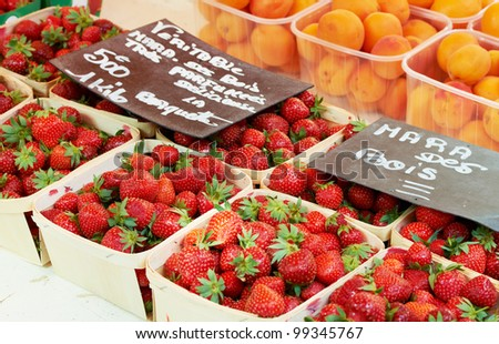 Typical fruits ripe strawberry variety for sale at Aix en Provence market in France - stock photo