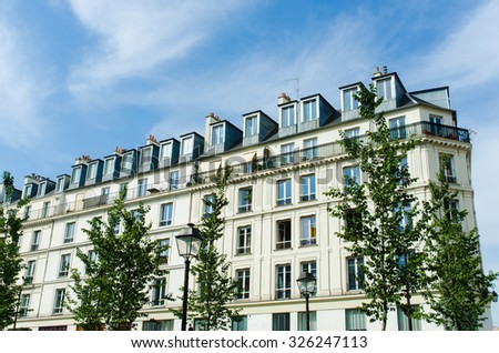 Typical generic houses in Paris France - stock photo