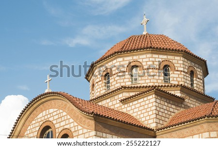 Typical Greek church. Blue sky. Greece - stock photo