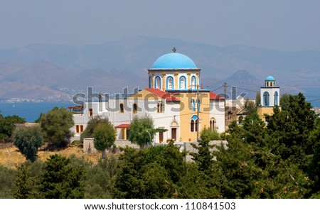 Typical greek church in kos island - stock photo