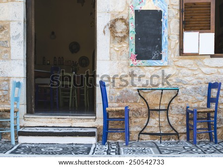 Typical greek restaurant. Greece, Mani - stock photo