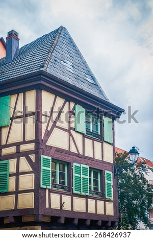 typical half timbered house in alsace, france - stock photo