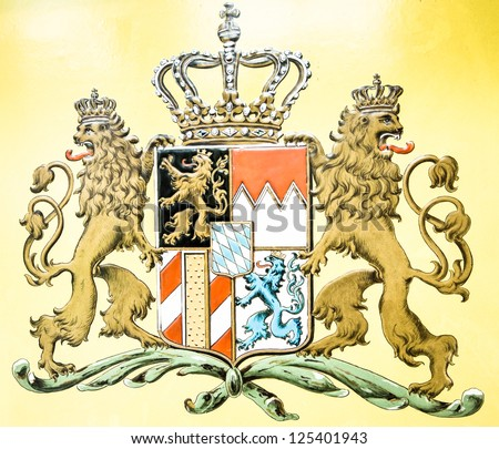 typical historic bavarian coat of arms - stock photo
