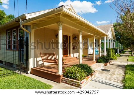 Typical homes of the Broadmoor residential area in New Orleans, Louisiana. - stock photo