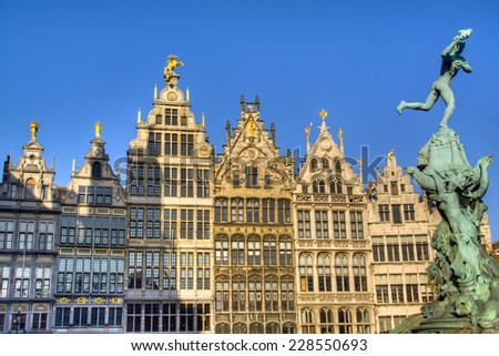 Typical houses in the city of Antwerp, Belgium  - stock photo